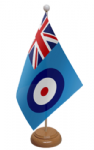 RAF Ensign Desk / Table Flag with wooden stand and base